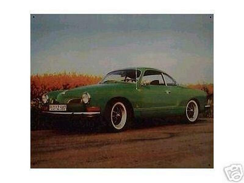 lteres blechschild oldtimer vw karmann ghia coupe reklame. Black Bedroom Furniture Sets. Home Design Ideas