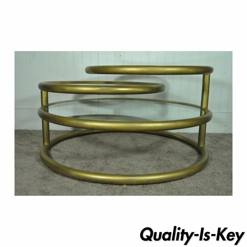 Vintage Hollywood Regency 3 Tier Round Swivel Coffee Table Mid Century Modern Ebay