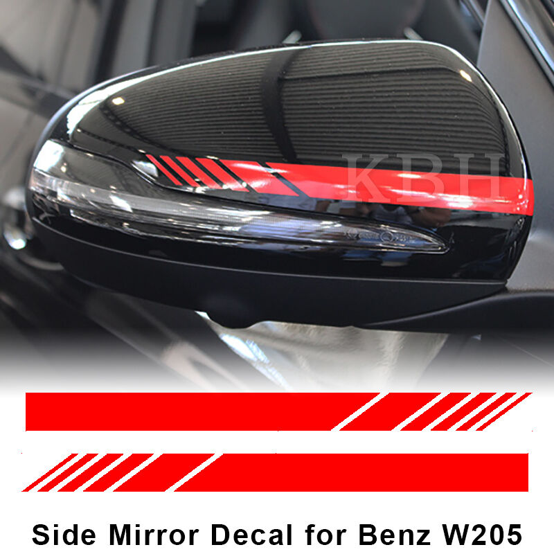 edition 1 mirror red stripes decals for mercedes benz w205 c200 c300 c45 c63 amg ebay. Black Bedroom Furniture Sets. Home Design Ideas