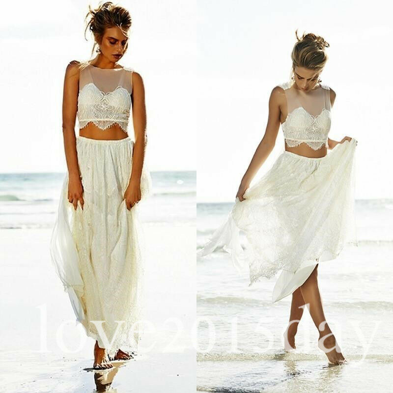 Beach Wedding Dresses Size 16 : Piece beach wedding dress lace bridal gown custom size
