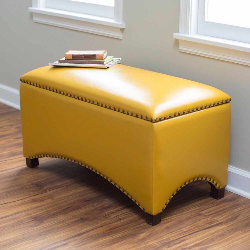 Storage Bench Seat Indoor Mustard Yellow Ottoman Flip Top Interior Leather Ebay