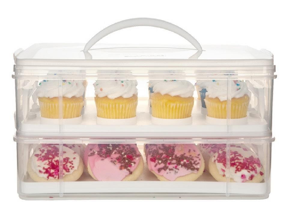 SNAPWARE Snap 'N Stack 2 LAYER CUPCAKE & COOKIE CARRIER *Plastic Hold...