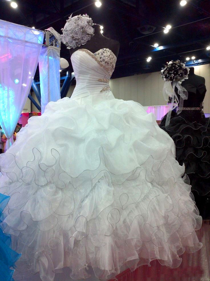 Long White Quinceanera Dress Wedding Evening Dresses Party