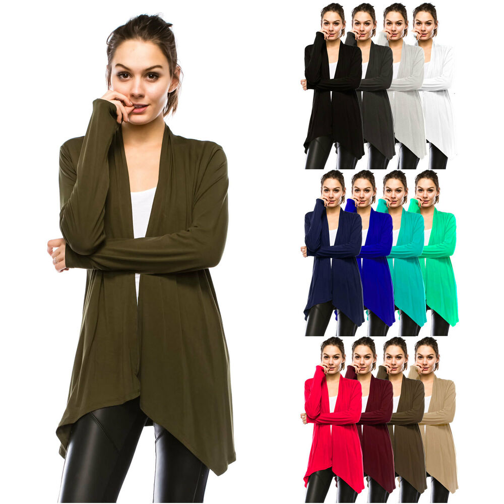 Womens Lightweight Long Sleeve Open Front Cardigan-Made in ...