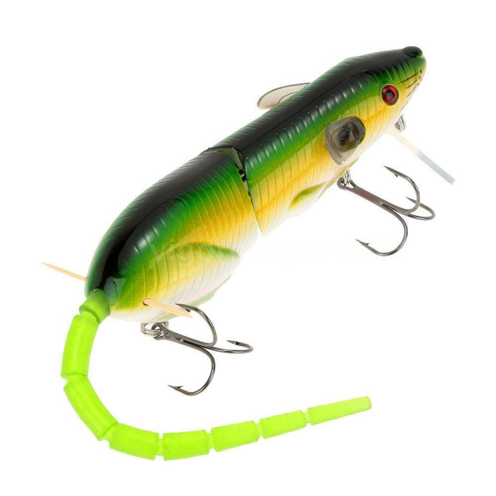 Rare 1 mouse lure 2 tails baits treble hooks fishing for Fishing lures ebay