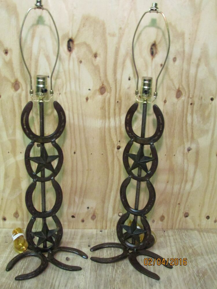 Western Rustic Horseshoe 2 Lamps With 2 Stars Home Decor