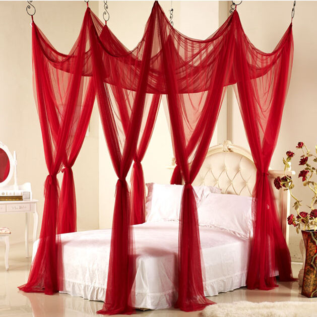 Wedding set bedding canopy bedroom decoration mosquito net for Bed with mosquito net decoration