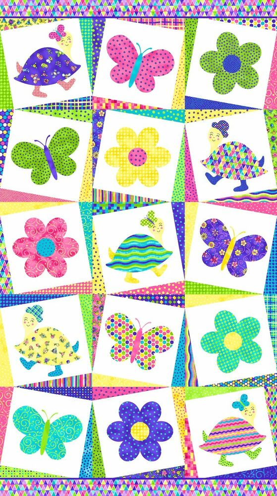 Topsy Turvy Bright Butterfly Bug Quilt Fabric Panel Baby