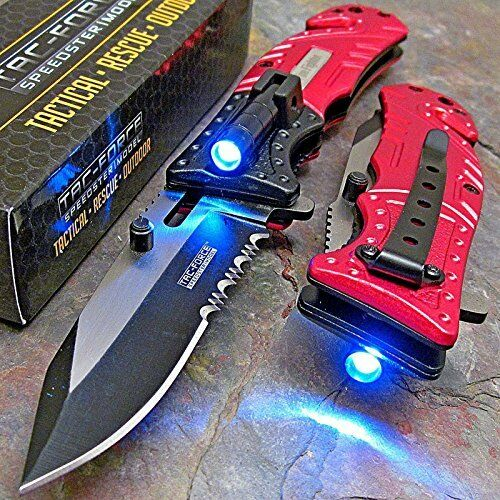 Tac Force Red Fire Fighter Spring Assisted Open Led Tactical Rescue Pocket Knife Ebay