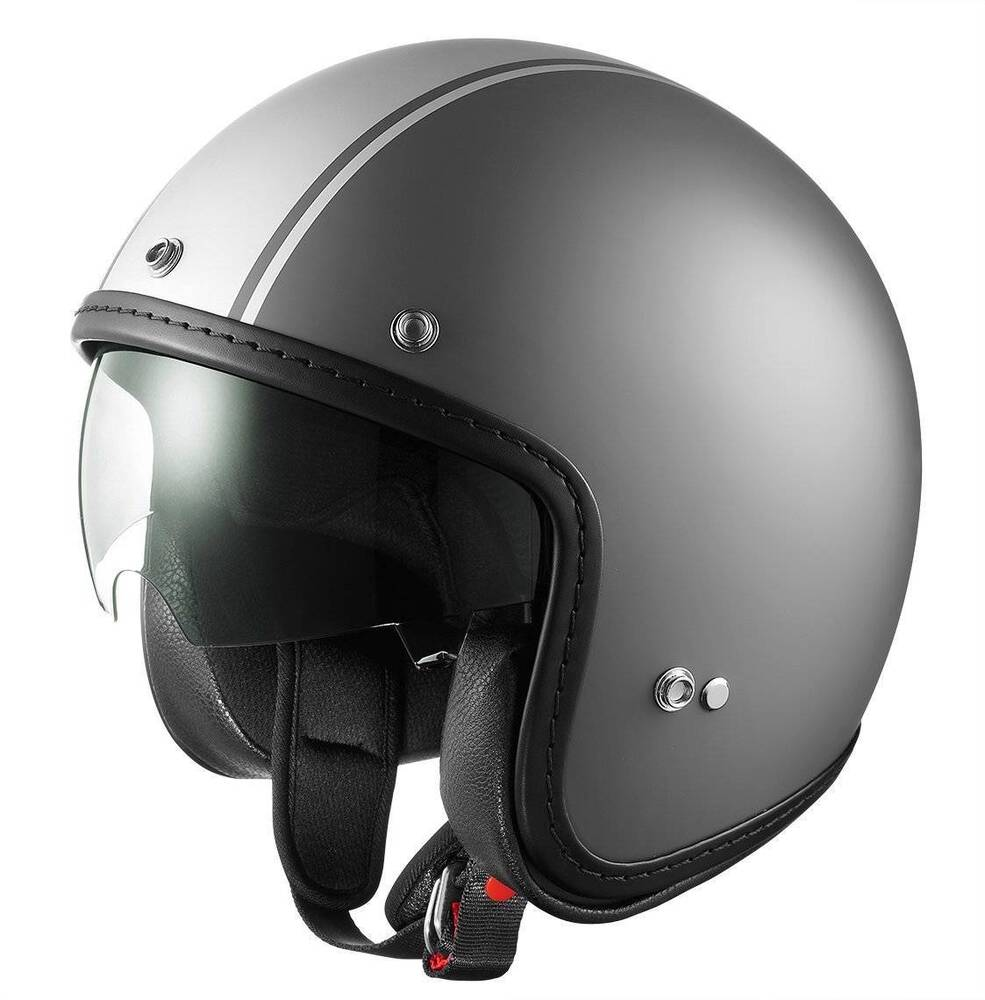 helmet motorcycle shield scooter vespa moped helmets matte gray sniper dot grey face cruiser open glx silver biker stripe retractable