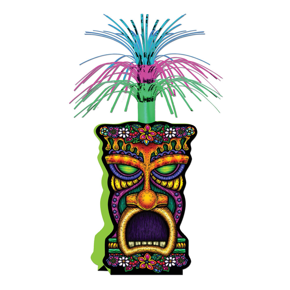 Luau tiki man centerpiece metallic spray party decoration for Hawaiin decorations