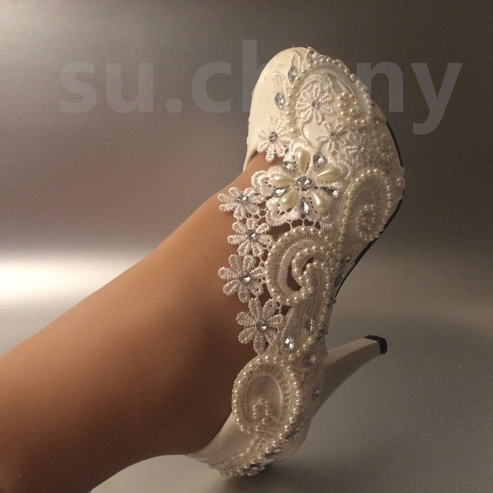"""3"""" 4 """" Heel White Ivory Lace Crystal Pearls Wedding Shoes"""