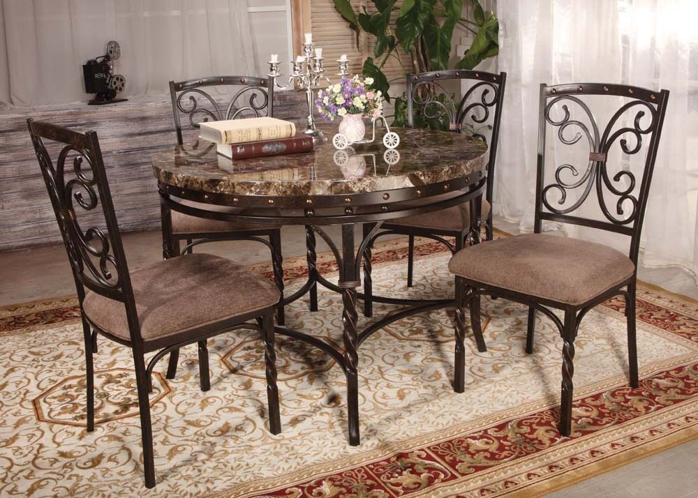 Burril Circular Brown Faux Marble Top Dining Table Set 5 Pc Chairs Dining Roo