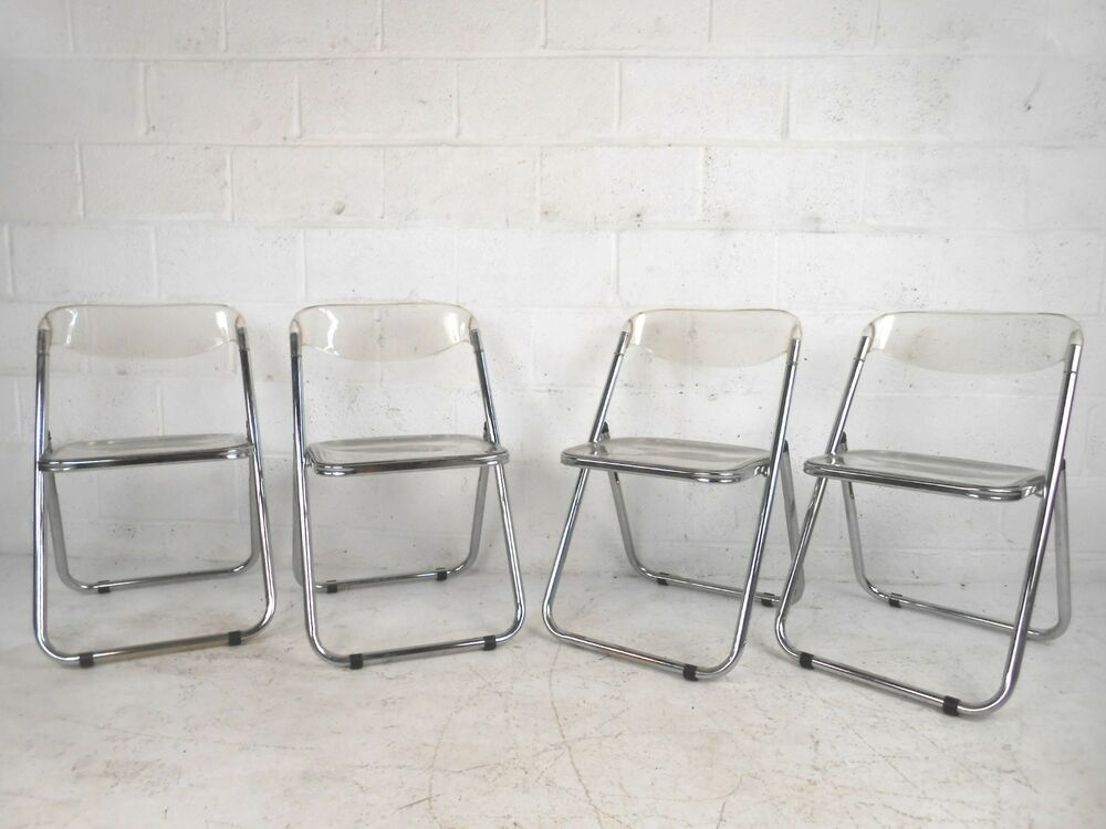 Set of Mid Century Lucite and Chrome Italian Folding Chairs 7581 NJ