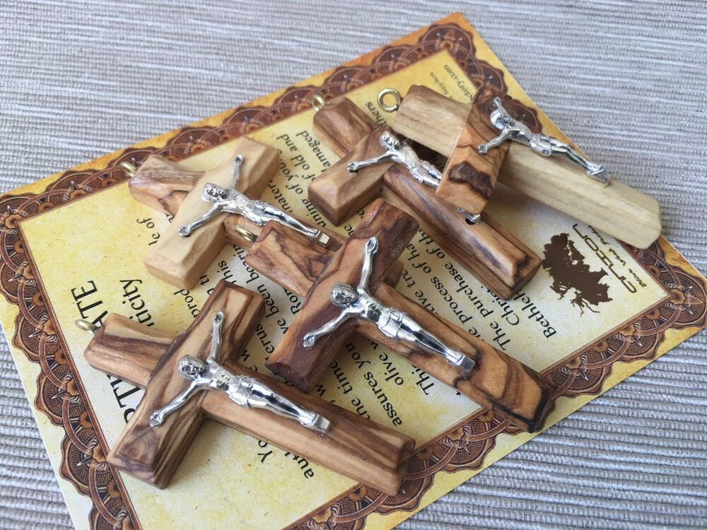 5pcs olive wood small rosary cross with jesus crucifix for Wooden craft crosses wholesale