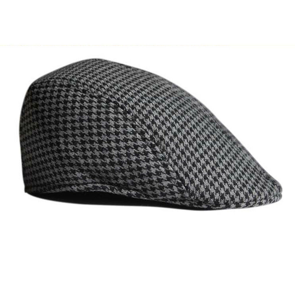 Details about Classic Boys Kids Beret Flat Cap Houndstooth Country Newsboy  Baker Hat Grey 7ca600d2b2d