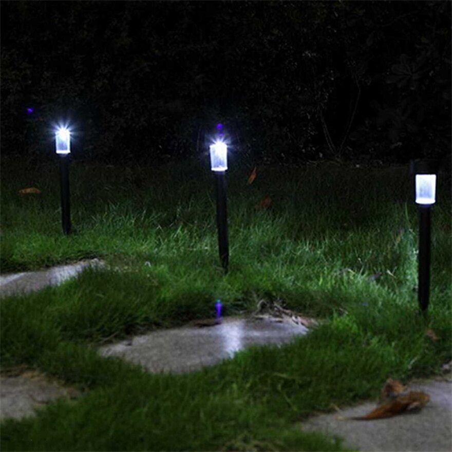 White light led solar lawn light garden outdoor landscape for Garden lights