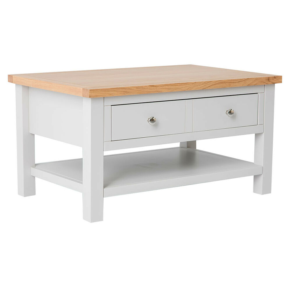 Grey Solid Wood Coffee Table: Farrow Grey Coffee Table / Painted Lounge Table With