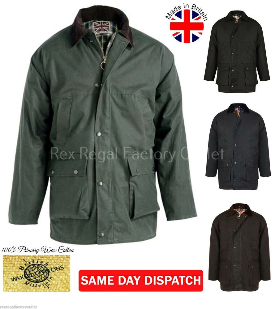 Mens Padded Wax Cotton Jacket With Hood Coat Hunting