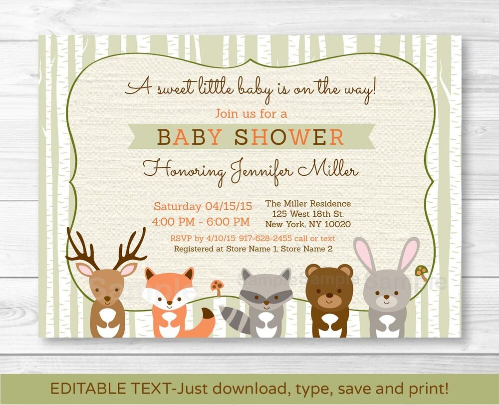 woodland animals fox deer bear neutral baby shower