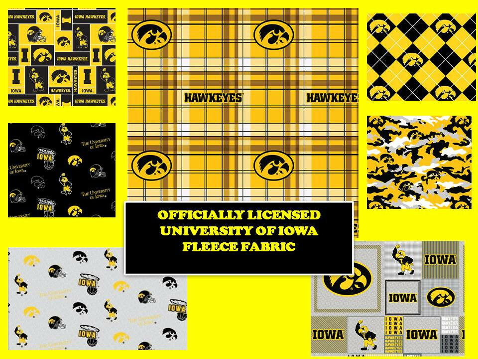UNIVERSITY OF IOWA FLEECE FABRIC-IOWA HAWKEYES FLEECE FABRIC-ALL ...