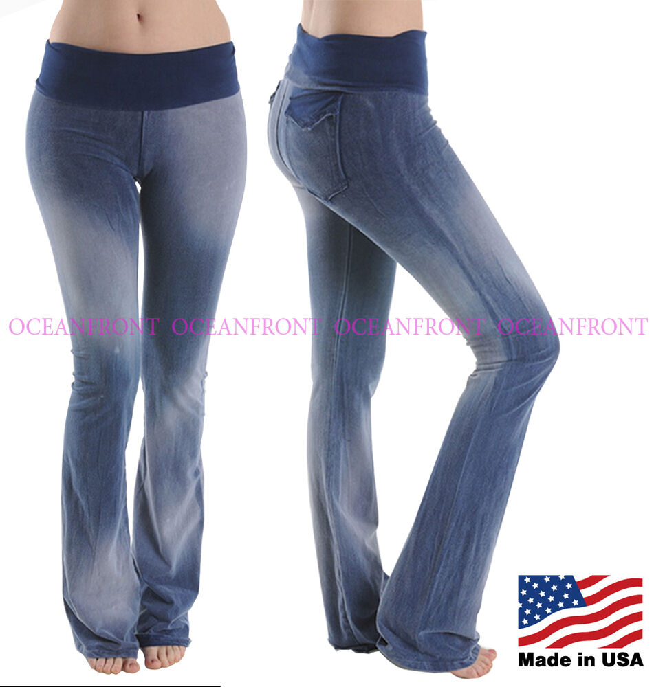 T-Party Foldover Waist BLUE Mineral Wash Denim Look