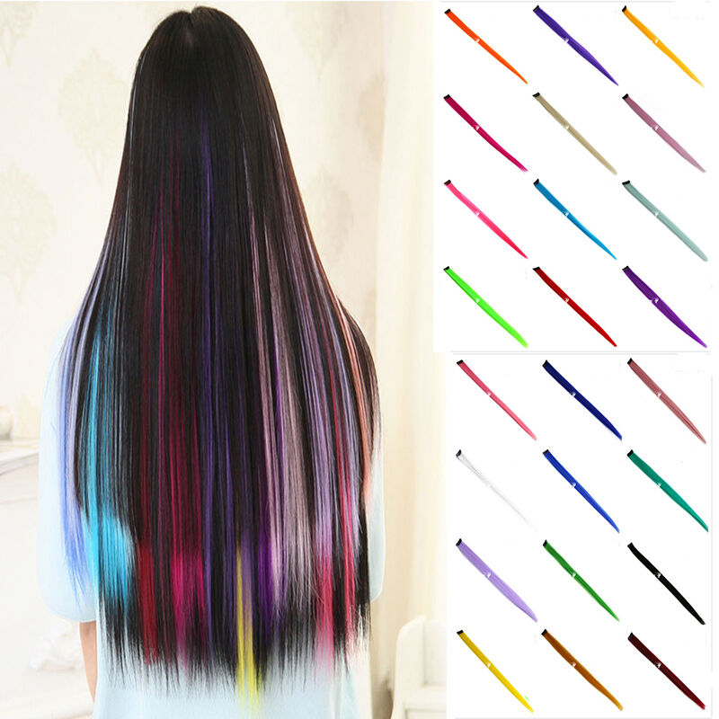 2pcs Women Multi Color Long Straight Synthetic Clip In On