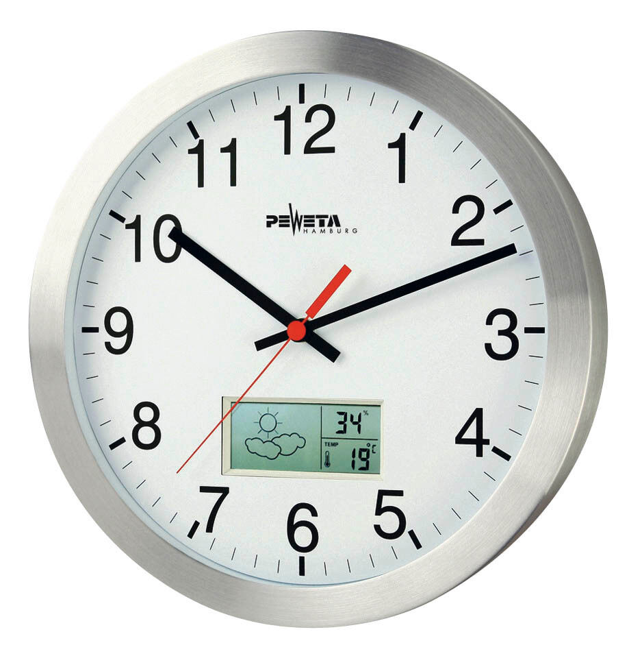 peweta funk wanduhr lcd display 30 0 cm wand uhren ebay. Black Bedroom Furniture Sets. Home Design Ideas