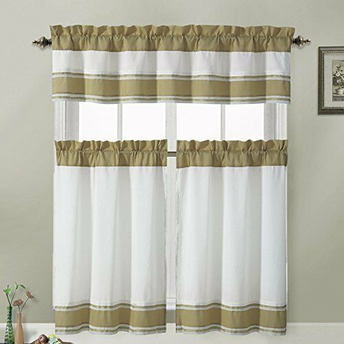Blackout Kitchen Curtains Polyester Valance Tiers 3: Tatiana Ivory White Brown Taupe Striped 3 Piece Kitchen