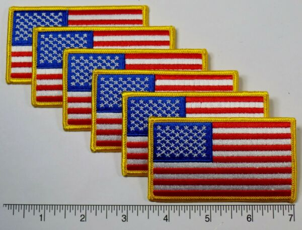 6-pack: American Flag Embroidered Patch 3.5x2