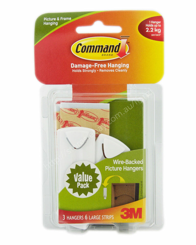 3m Command Damage Free Wire Backed Picture Hook 3 Hanger 6 Strip 22