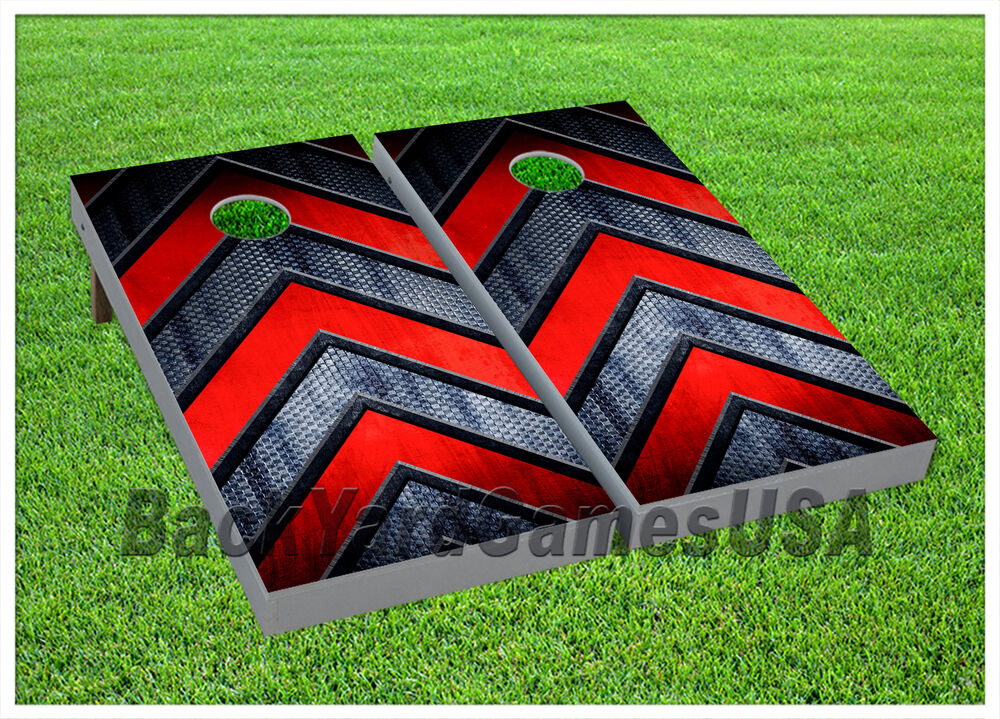 Cornhole Boards Beanbag Toss Game Red Silver Arrow Pattern