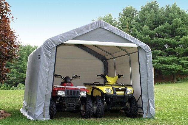 Portable Garages At Menards : Shelterlogic gray storage shed portable garage
