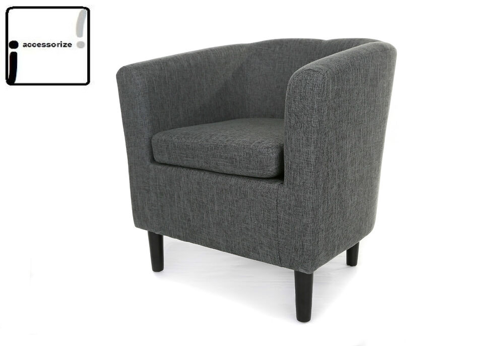 MONACO GREY FABRIC TUB CHAIR ARMCHAIR LOUNGE LIVING ROOM ...