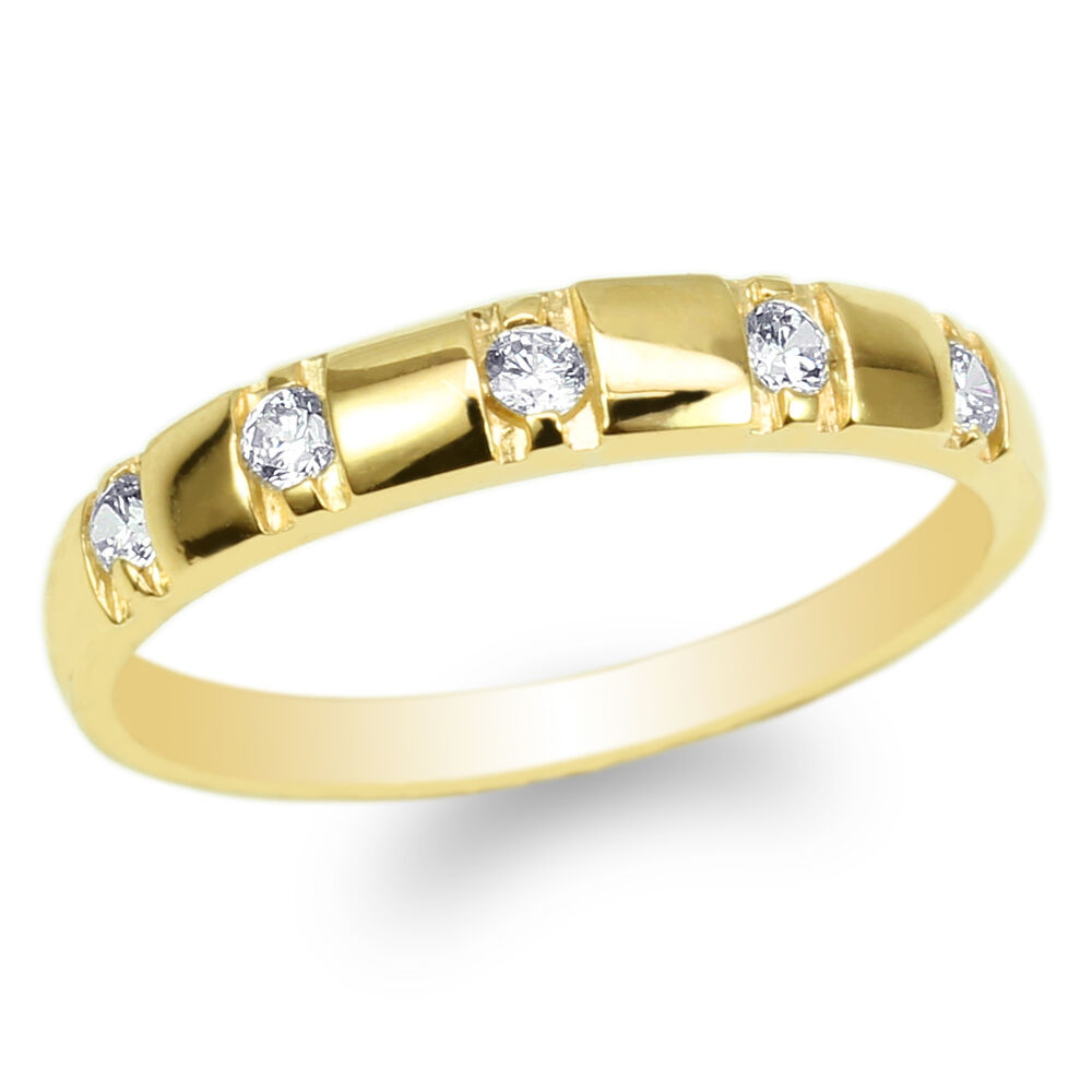 Womens 10K Yellow Gold Round CZ Luxury Engagement Wedding Band Ring Size 4 10