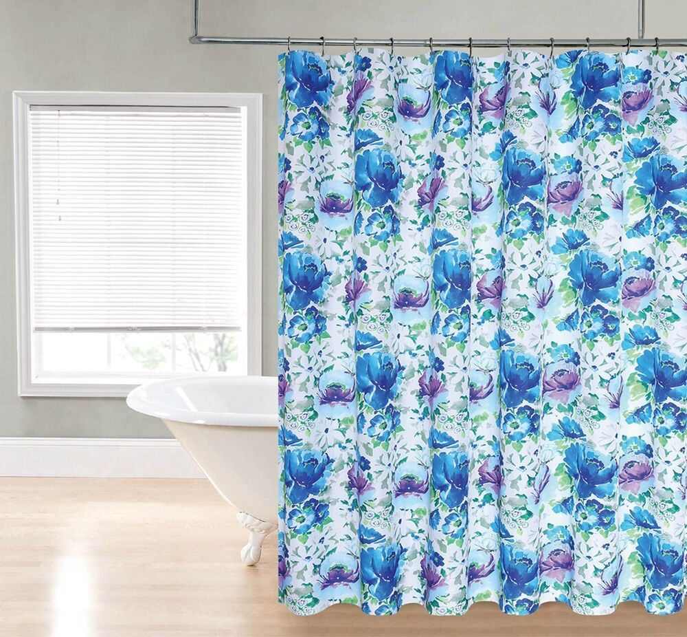 Chloe Bright Blue Purple Watercolor Floral Flower Fabric