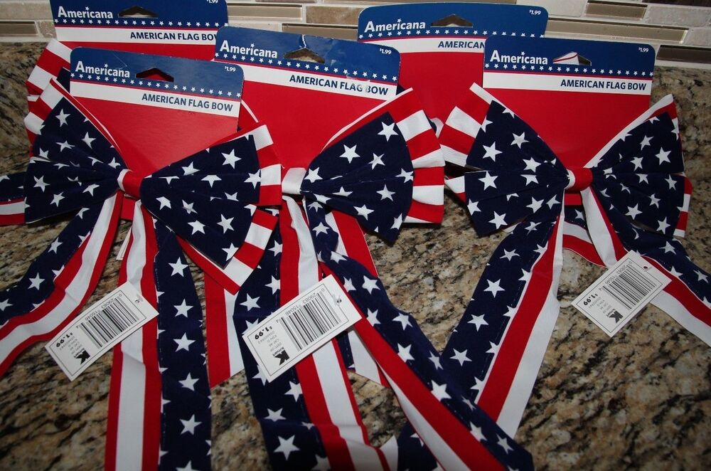 8 American Flag Bows Indoor Outdoor Decorations Red White