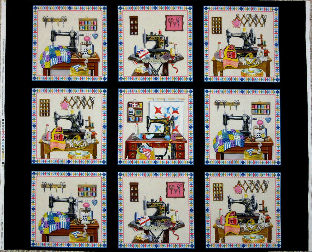 Stitch In Time Sewing Quilting Fabric Theme Notion Panel