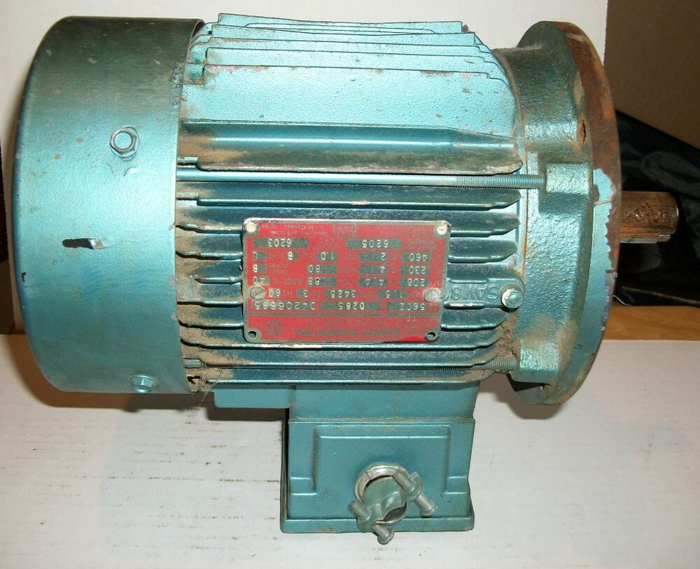Leroy somer 1 5hp 56cz frame 3425rpm 3 phase motor ebay for Vfd for 5hp motor