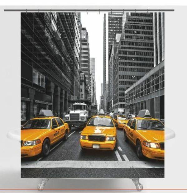New york city time square fabric shower curtain ebay for Curtains and drapes nyc