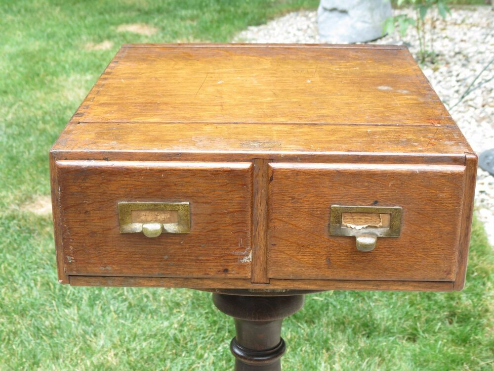Vintage macey dovetailed wood oak two drawer quot