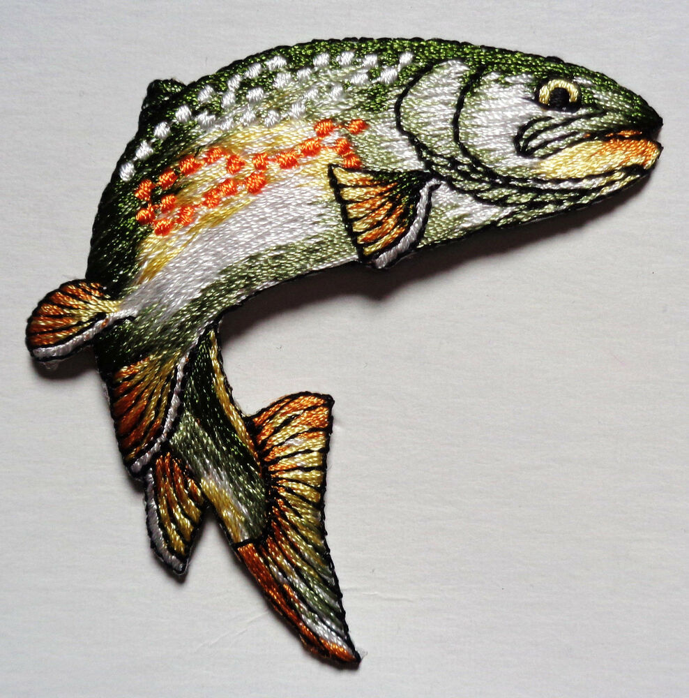 Fish natural iron on applique ebay for Iron in fish