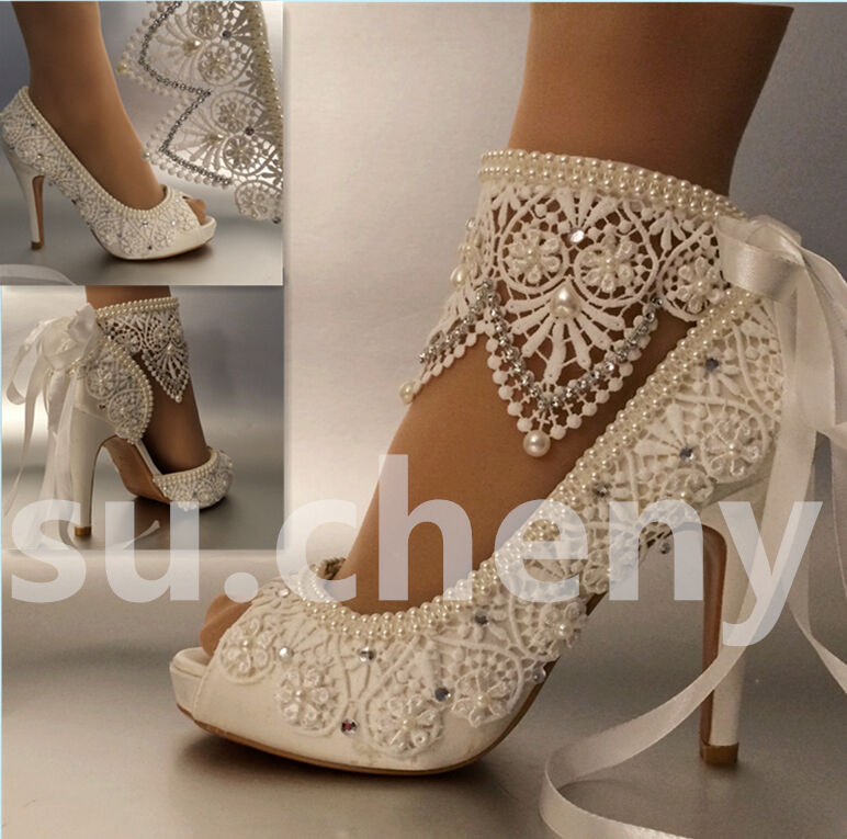 "3"" 4"" Heel Satin White Ivory Lace Ribbon Ankle Open Toe"