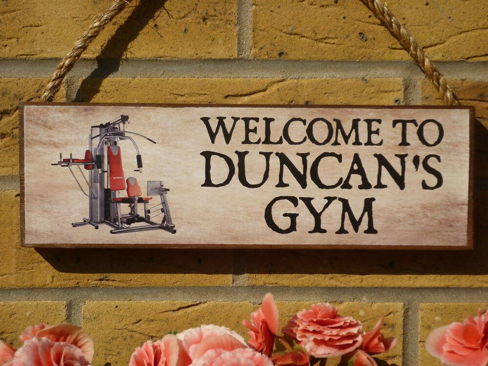 Personalised home gym signs shed garage multi