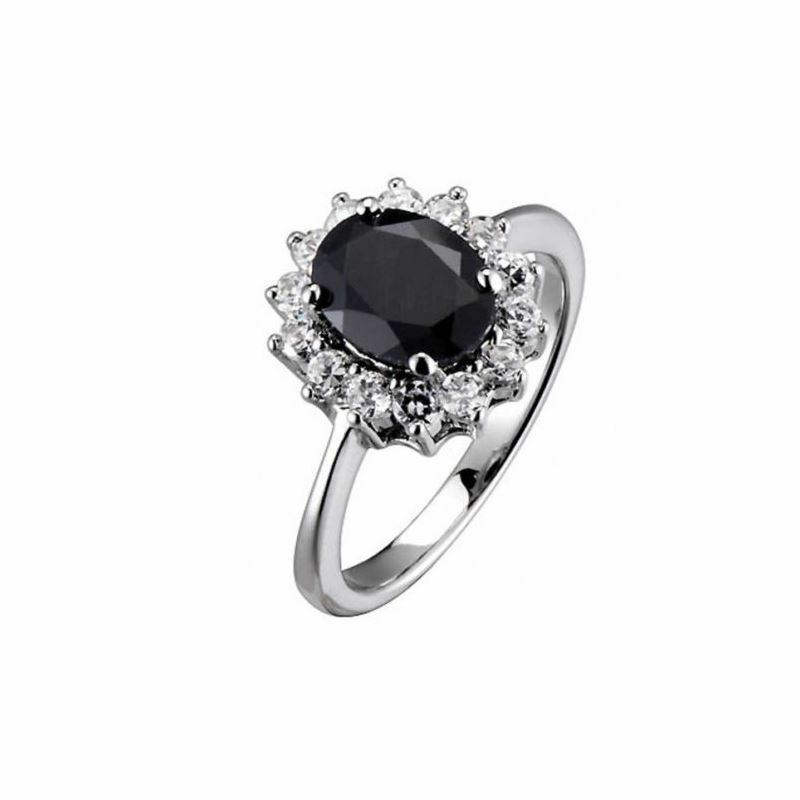 Oval Dark Blue Sapphire Royal Engagement Ring 925 Sterling ...