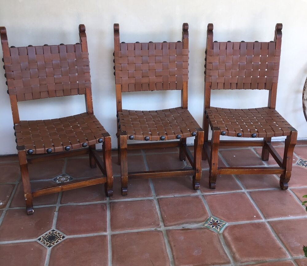 MEXICAN SOUTHWEST REVIVAL 2 CHAIRS Vtg Handmade Wood Woven