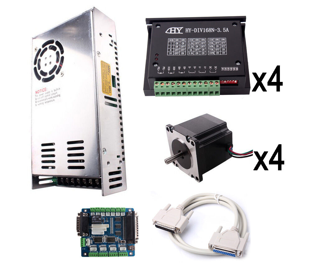 Cnc Tb6560 4 Axis Stepper Motor Driver Board Kit Usb Breakout Card Power Supply Ebay