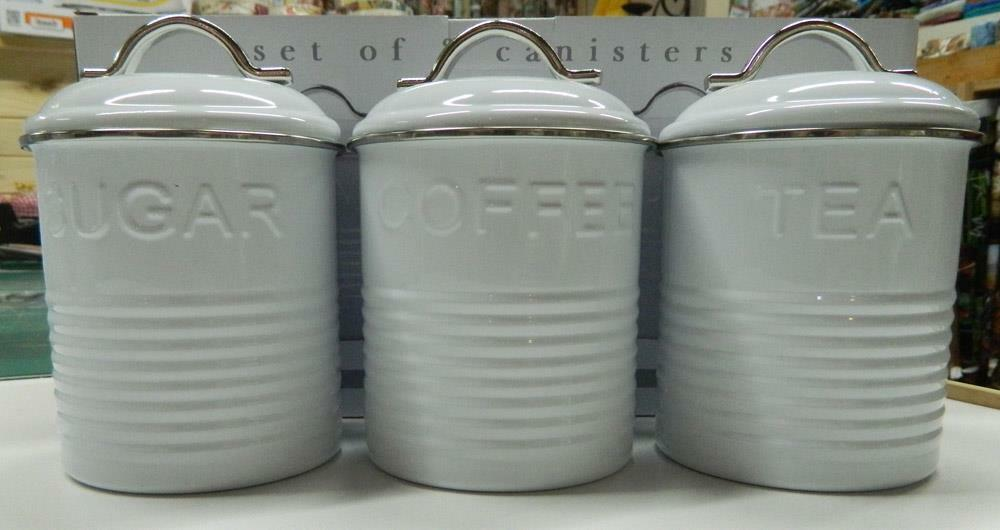 Enamel retro kitchen canisters white blue grey tea - Coffee tea and sugar canisters ...