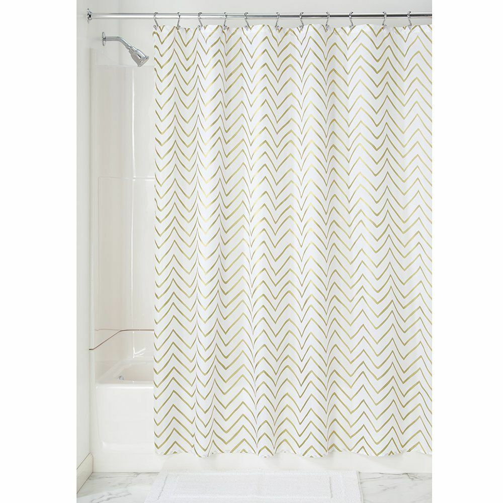 Gold White Chevron Fabric Shower Curtain Ebay