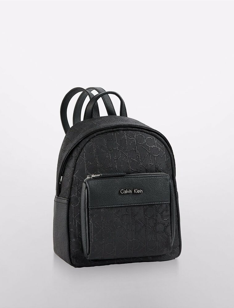 nwt calvin klein hailey city black lurex womens backpack ebay. Black Bedroom Furniture Sets. Home Design Ideas